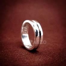 แหวนเซาะร่อง หน้ากว้าง4มิล แหวนเงินแท้ แหวนเกลี้ยง