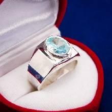แหวนผู้ชาย แหวนเงินแท้ พลอยอะความารีน พลอยสีฟ้าน้ำทะเล แหวนสำหรับผู้ชาย