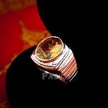 แหวนผู้ชาย แหวนบุษราคัม ฝังพลอยสีเหลือง แหวนเงินแท้