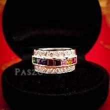 แหวนเงินแท้ เม็ดสี่เหลี่ยม เพชร แหวนนพเก้า แหวนพลอยแฟนซี