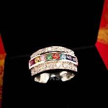 แหวนเงินแท้ เม็ดกลม เพชร แหวนนพเก้า แหวนพลอยแฟนซี