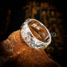 แหวนแกะลายไทย หน้ากว้าง8มิล แหวนเงินแท้ แหวนเกลี้ยง แหวนหน้าโค้ง