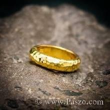 แหวนทองเกลี้ยง กว้าง4มิล ลายค้อนช่างทอง แหวนหน้าโค้ง แหวนเกลี้ยง