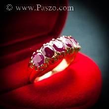 แหวนพลอยทับทิม แหวนทอง พลอยสีแดง แหวนแถว 5เม็ด ฝังพลอยทับทิม