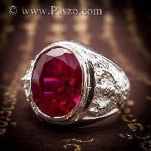 แหวนพญาครุฑ แหวนผู้ชายเงินแท้ ฝังพลอยทับทิม พลอยสีแดง แหวนเงินแท้ แหวนทับทิมผู้ชาย แหวนผู้ชาย