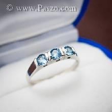 แหวนเงิน ฝังพลอยสีฟ้า เม็ดกลม 3 เม็ด เรียงติดกัน แหวนพลอยสีฟ้า