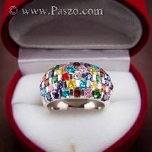 แหวนพลอยหลากสี พลอยหลากสี พลอยแฟนซี แหวนเงินแท้ 925