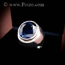 แหวนทรงมอญ แหวนไพลิน แหวนผู้ชาย แหวนเงินแท้ ฝังพลอยไพลิน พลอยสีน้ำเงิน แหวนพลอยสีน้ำเงิน
