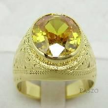 แหวนทองผู้ชาย ฝังพลอยบุษราคัม แกะสลักลายไทย แหวนทองแท้
