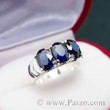 แหวนเงินแท้ ฝังพลอยไพลิน พลอยสีน้ำเงิน แหวนพลอยสีน้ำเงิน