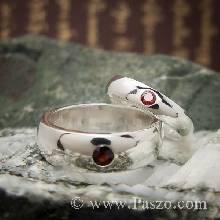ชุดแหวนคู่ แหวนเกลี้ยงหน้าโค้ง ฝังพลอยโกเมน แหวนโกเมน