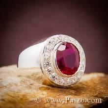 แหวนพลอยทับทิม พลอยสีแดง ล้อมเพชร แหวนผู้ชายเงินแท้ แหวนทับทิมผู้ชาย แหวนผู้ชาย