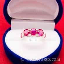 แหวนพลอยทับทิม เม็ดกลม พลอย3เม็ด แหวนพลอยสีแดง
