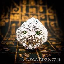 แหวนหนุมาน ฝังมรกต พลอยสีเขียว แหวนเงินแท้ แหวนผู้ชาย