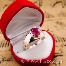 แหวนผู้ชายเงินแท้ ฝังพลอยทับทิม พลอยสีแดง แหวนผู้ชายแบบเรียบๆ แหวนผู้ชาย