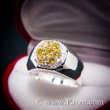 แหวนผู้ชาย ฝังพลอยบุษราคัม พลอยสีเหลือง แหวนเงินแท้