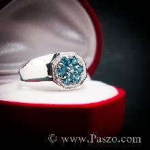 แหวนพลอยสีฟ้า แหวนสำหรับผู้ชาย หน้าแหวนแปดเหลี่ยม