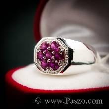แหวนทับทิมผู้ชาย แหวนผู้ชาย พลอยสีแดง แหวนทรงแปดเหลี่ยม ฝังพลอย7เม็ด แหวนเงินแท้