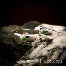 ชุดแหวนคู่ แหวนเงินเกลี้ยงหน้าโค้ง ฝังพลอยสีเขียวมรกต