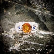 แหวนแห่งแสง ฝังพลอยบุษราคัม ฝังพลอยไพลิน แหวนเงินแท้ แหวนผู้ชาย
