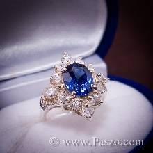 แหวนพลอยไพลิน พลอยสีน้ำเงิน ล้อมเพชร ตัวแหวนเงิน92.5