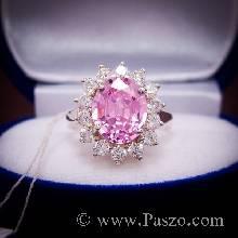 แหวนพลอยสีชมพู ล้อมเพชร pink topaz แหวนเงินแท้