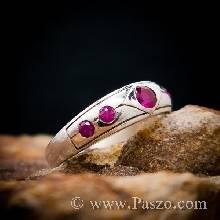 แหวนพลอยสีแดงทับทิม 5เม็ด แหวนเงินแท้
