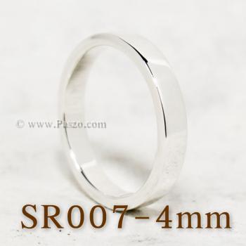 แหวนเกลี้ยงหน้าเรียบ กว้าง4มิล แหวนเงินขอบตรง #6