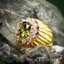แหวนทองผู้ชาย แหวนพลอยเขียวส่อง ล้อมเพชร แหวนทองแท้ ทอง90