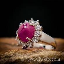แหวนพลอยทับทิมแท้ ฝังเพชร แหวนเงินแท้ 925 ชุบทองคำขาว