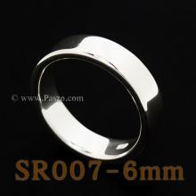 แหวนเกลี้ยงหน้าเรียบ กว้าง6มิล แหวนขอบตรง แหวนเงิน แหวนปลอกมีด แหวนเงินเกลี้ยง