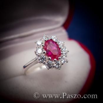 แหวนพลอยสีแดงทับทิม สีแดงเลือดนก ล้อมเพชร #7
