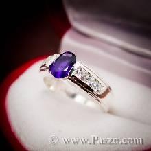 พลอยอเมทิส แหวนพลอยสีม่วง บ่าฝังเพชร พลอยสีม่วง แหวนเงินแท้