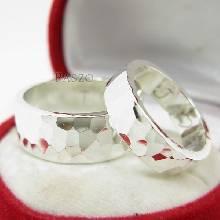 แหวนเงินคู่รัก แหวนลายค้อนทุบ แหวนเกลี้ยงเิงินแท้