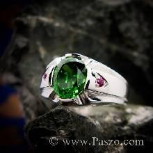 แหวนแห่งแสง แหวนมรกต ฝังทับทิมสีแดง แหวนเงินแท้ แหวนผู้ชาย