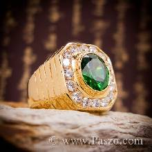 แหวนมรกต ล้อมเพชร แหวนผู้ชาย แหวนทองแท้ ทอง90 ฝังพลอยสีเขียวมรกต แหวนแปดเหลี่ยม