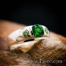 แหวนมรกต แหวนพลอยสีเขียว แหวนเงินแท้ พลอยสีเขียวมรกต 3เม็ด แหวนวงเล็ก