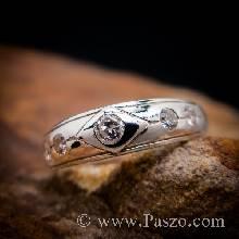 แหวนเพชร 4เม็ด แหวนเงินฝังเพชร