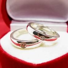 แหวนเงินคู่รัก แหวนเกลี้ยงขอบตรงฝังเพชร เม็ดเดี่ยว 1 เม็ด แหวนเงินแท้