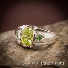 แหวนแห่งแสง แหวนเพอริดอท ฝังพลอยมรกต แหวนผู้ชายเงินแท้ แหวนผู้ชาย