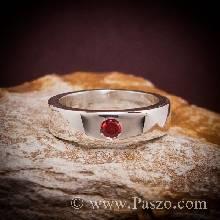 แหวนโกเมน พลอยสีส้ม แหวนเกลี้ยง แหวนเงินแท้