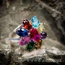 แหวนดอกพิกุล แหวนพลอยเก้าสี แหวนเงินแท้