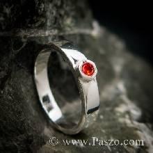 แหวนโกเมนสีส้ม แหวนพลอยเม็ดเดี่ยว แหวนเงินแท้