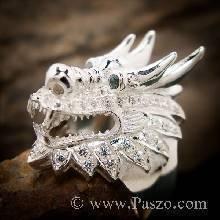แหวนมังกร ฝังอะความารีน แหวนเงินแท้ แหวนหัวมังกร ฝังเพชร แหวนผู้ชาย