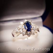 แหวนไพลิน ล้อมเพชร แหวนเงินแท้ รุ่นเล็ก