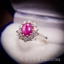 แหวนพลอยทับทิม พลอยทับทิมอัฟริกา ล้อมเพชร แหวนผู้หญิง แหวนเงินแท้