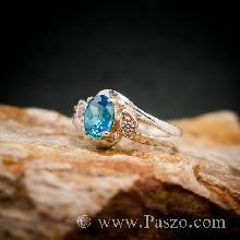 แหวนพลอยสีฟ้า แหวนพลอยเงินแท้