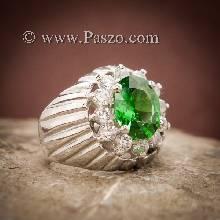 แหวนมรกต แหวนผู้ชาย แหวนเงินแท้ ล้อมเพชร