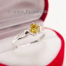 แหวนบุษราคัม แหวนเงินแท้ พลอยเม็ดเดี่ยว พลอยสีเหลือง