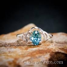 แหวนพลอยบลูโทพาส เพชรข้าง3เม็ด แหวนเงินแท้ แหวนผู้หญิง พลอยสีฟ้า